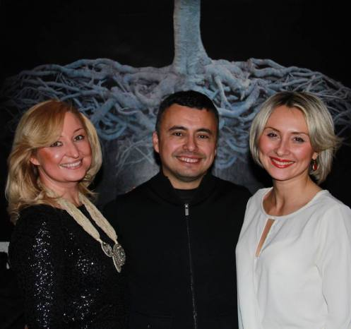 Alvaro Montagna and Natalie Burlutskaya and Maria Kordova, the owners of Re Artiste representing the artist