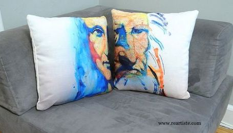 Decorative pillows inspired by Vladimir Yakobtchuk's watercolor