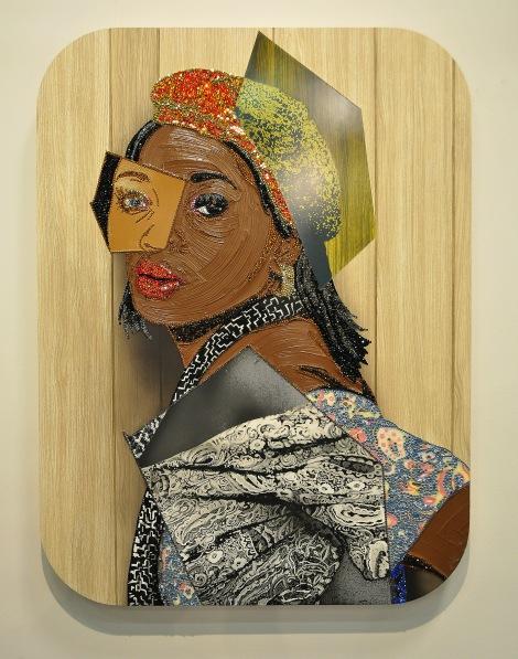 "Michalene Thomas, ""Portrait of Qusuquzah #6"", 2015. Rhinestones, acrylic, oil, and silkscreen on wood panel."