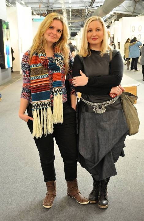 Artist Kate Goltseva and the RE:ARTISTE co-founder, Natalie Burlutskaya, at The Armory Show 2015.