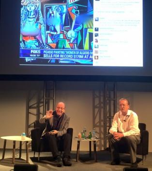 Jerry Saltz and Tom Eccles at Frieze Talks.