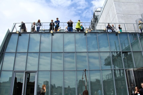 Visitors on the opening day at the Whitney Museum.