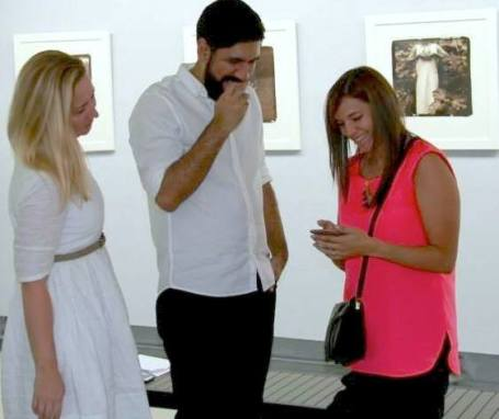 Natalie of RE:ARTISTE, coach Leo Rapini, and painter Cande Bruce at the coaching session, Soho Photo Gallery