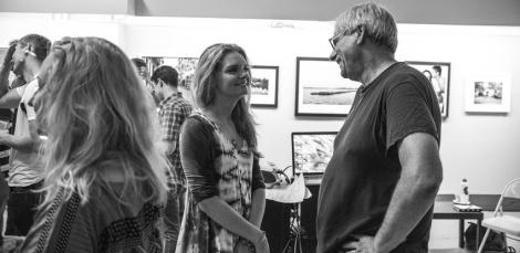 Kate Goltseva with Soho Photo Gallery board member and professor at NYU, Lawrence Wheatman