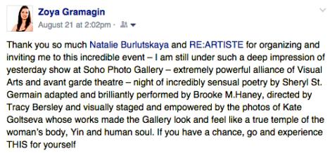 Spectator's review: opera artist, Zoya Gramagin.